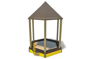 sand box with metal roof